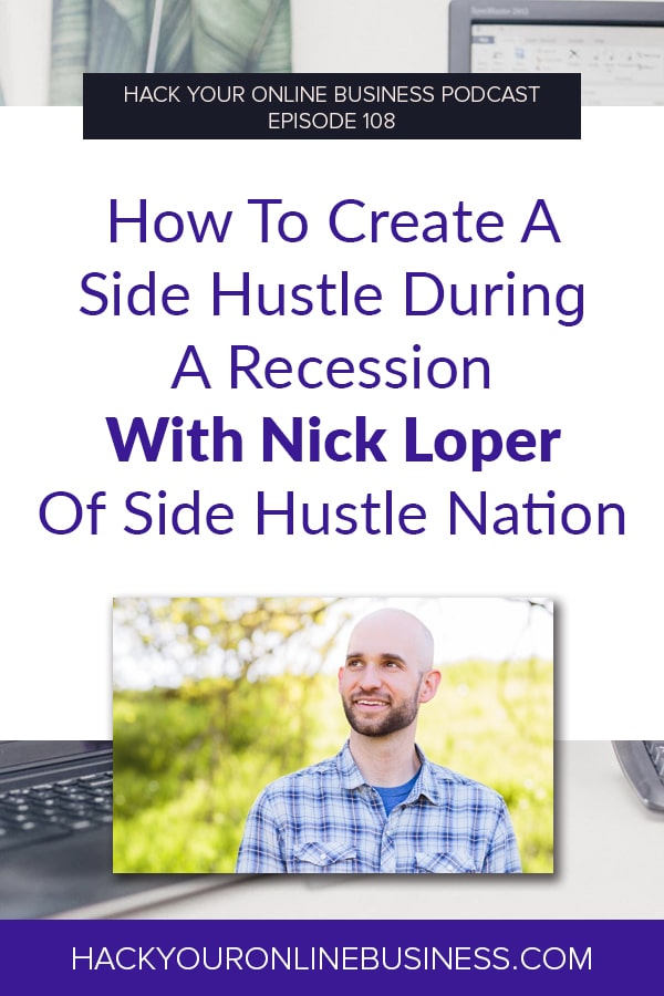How To Create A Side Hustle During A Recession With Nick Loper Of Side Hustle Nation